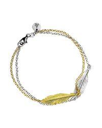 Azendi - Metallic Double Feather Bracelet - Lyst