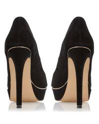 Dune Black Daviner Peep Toe Platform Court Shoes