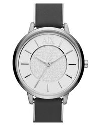 Armani Exchange | Metallic 'smart' Leather Strap Watch | Lyst