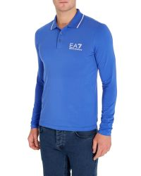 EA7 - Blue Logo Polo Regular Fit Polo Shirt for Men - Lyst