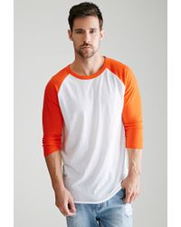 Forever 21 | Orange Colorblocked Raglan Baseball Tee for Men | Lyst