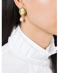 Dolce & Gabbana Green Cameo Pearl Earrings