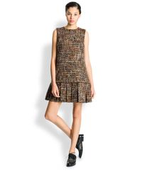 Dolce & Gabbana Brown Tweed Drop-Waist Dress
