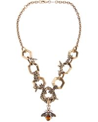Alexander McQueen - Metallic Hexagon and Bee Skull Necklace - Lyst