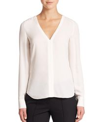 A.L.C. | White Cleary Silk Cutout-back Top | Lyst