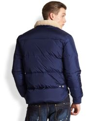 DSquared² - Blue Shearlingcollar Puffer Jacket for Men - Lyst