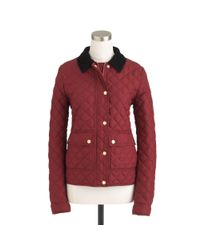 J.Crew Red Petite Quilted Tack Jacket