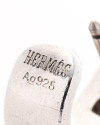 Hermès | Metallic HermãˆS Silver Pierced Earrings | Lyst
