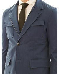 Gucci | Blue Azul Gabardine Four Pocket Jacket for Men | Lyst