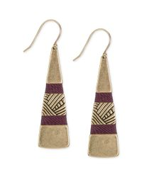 The Sak | Metallic Goldtone Wine Thread Paddle Drop Earrings | Lyst