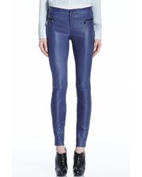 J Brand Blue Minette Leather Pant