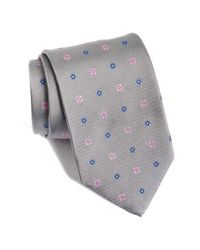 David Donahue | Gray Floral Silk Tie for Men | Lyst