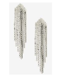 Express Metallic Rhinestone And Metal Fringe Earrings