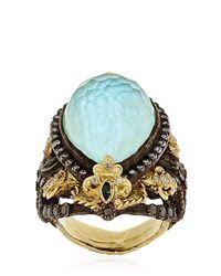 Armenta Blue Fleurdelis Drop Ring