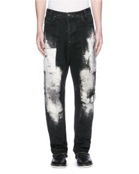 Song For The Mute Black Distressed Patchwork Oversized Jeans for men