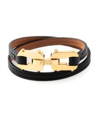 Fendi - Black Chains Bracelet - Lyst