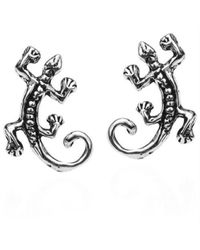 Aeravida | Black Petite Gecko Lizard .925 Silver Stud Earrings | Lyst