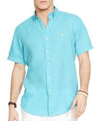 Ralph Lauren Blue Polo Short Sleeved Linen Shirt - Classic Fit for men