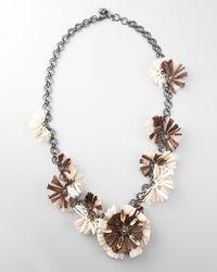 Lanvin | White Long Raffia Flower Necklace, 41l | Lyst