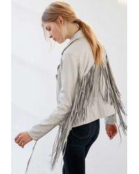 Blank Gray Vegan Leather Fringe Jacket