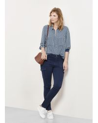 Violeta by Mango | Blue Cotton Cargo Trousers | Lyst
