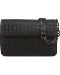 Bottega Veneta | Intrecciato Leather Chain Shoulder Bag, Women's, Black | Lyst