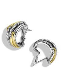 David Yurman Yellow Labyrinth Double-loop Earrings With Diamonds & Gold