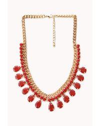 Forever 21 | Red Teardrop Faux Gemstone Bib Necklace | Lyst