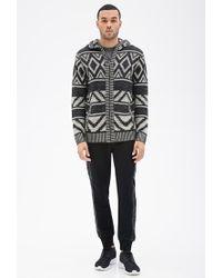 Forever 21 - Black Geo Pattern Knit Hoodie for Men - Lyst
