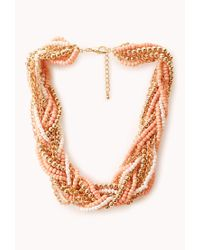 Forever 21 Orange Braided Beads and Chain Necklace