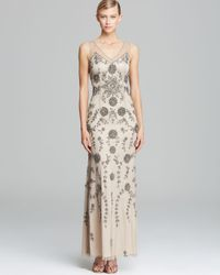 Adrianna Papell Natural Double V Neck Beaded Gown Sleeveless