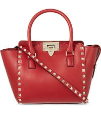 Valentino | Red Rockstud Mini Leather Tote - For Women | Lyst