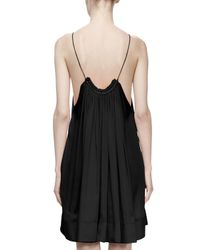 Stella McCartney - Black Gathered Scoop-neck Silk Trapeze Dress - Lyst