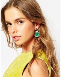 ASOS - Green Statement Ball Single Swing Earring - Lyst