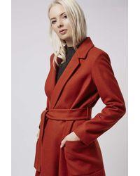 TOPSHOP - Orange Belted Wool Blend Coat - Lyst