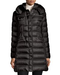 Moncler - Black Hermine Hooded Long Puffer Coat - Lyst