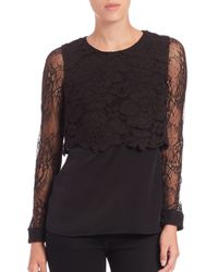 Bailey 44 - Black True Love Lace Overlay Top - Lyst