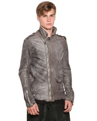 Giorgio Brato | Gray Vegetable Dyed Washed Leather Jacket for Men | Lyst