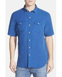 Tommy Bahama Blue 'sand Linen' Original Fit Short Sleeve Linen Blend Shirt for men