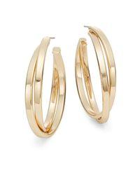 "Nine West - Metallic Double Crossover Hoop Earrings/1.5"" - Lyst"