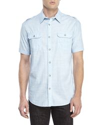 DKNY | Blue Slub Cotton Shirt for Men | Lyst