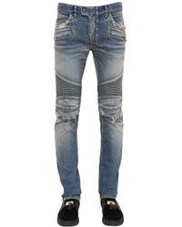 Balmain Blue 16.5cm Destroyed Stretch Denim Jeans for men