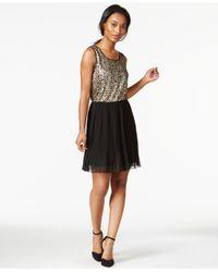 Maison Jules Black Sleeveless Sequined Pleated Dress