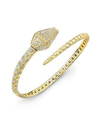 Anne Sisteron | 18kt Yellow Gold Diamond Snake Cuff | Lyst
