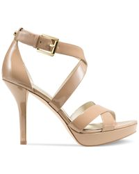 Michael Kors - Natural Michael Evie Platform Sandals - Lyst
