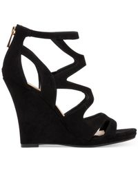 Jessica Simpson   Black Delina Caged Wedge Sandals   Lyst