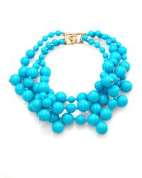 Kenneth Jay Lane - Blue Beaded Cluster Multi-Row Necklace - Lyst