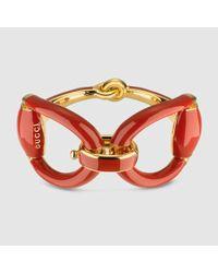 Gucci | Metallic Horsebit Bracelet In Red Enamel | Lyst
