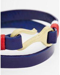 ASOS | Nautical Wrap Leather Bracelet In Blue for Men | Lyst