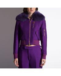 Bally Purple Fur-trimmed Bomber Jacket